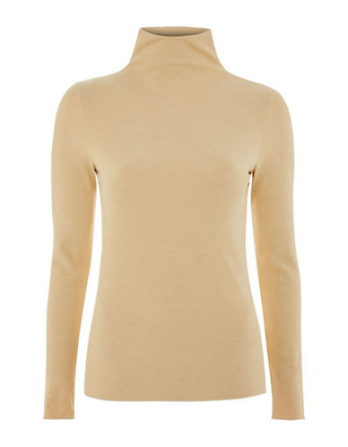 Topshop Ribbed Roll Neck Top by Boutique-CAMEL-UK 6/US 2