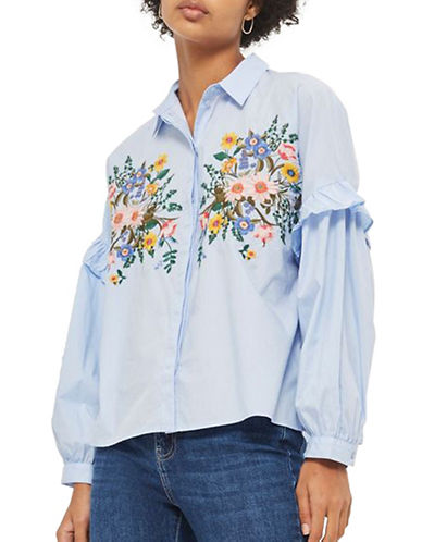 Topshop Forest Floral Embroidered Shirt-LIGHT BLUE-UK 10/US 6