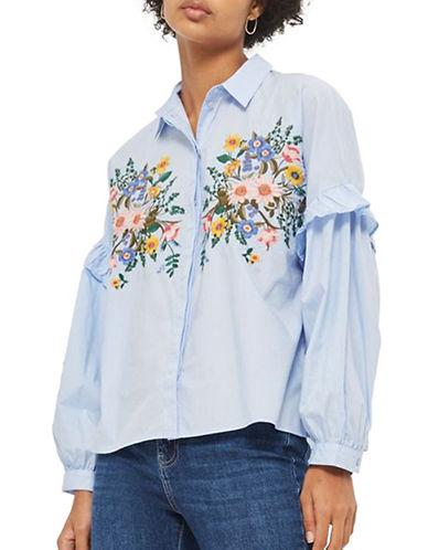 Topshop Forest Floral Embroidered Shirt-LIGHT BLUE-UK 12/US 8