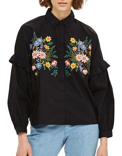 Topshop Forest Floral Embroidered Shirt-BLACK-UK 16/US 12