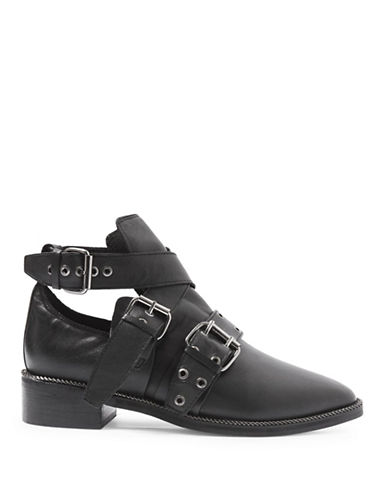 Topshop Adrian Buckle Ankle Boots-BLACK-EU 38/US 7.5