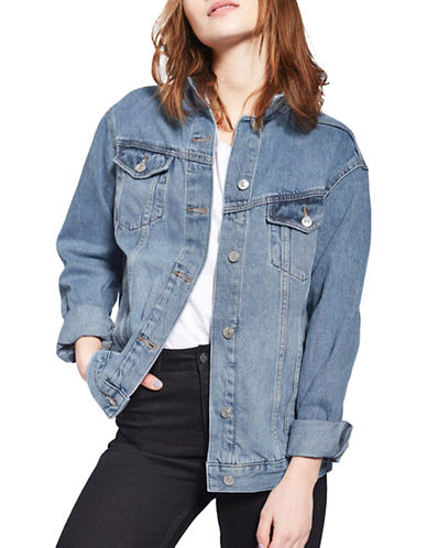 Topshop MOTO Oversized Denim Jacket-BLUE-UK 12/US 8