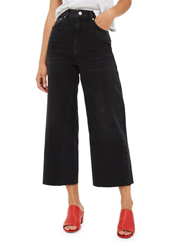 Topshop MOTO Washed Wide-Leg Jeans 30-Inch Leg-WASHED BLACK-28X30