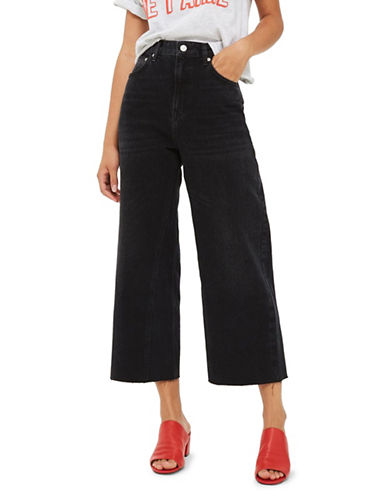 Topshop MOTO Washed Wide-Leg Jeans-WASHED BLACK-32X32