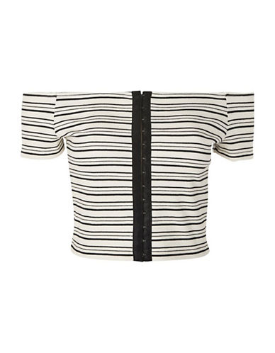 Topshop Hook-and-Eye Stripe Crop Top-MONOCHROME-UK 14/US 10