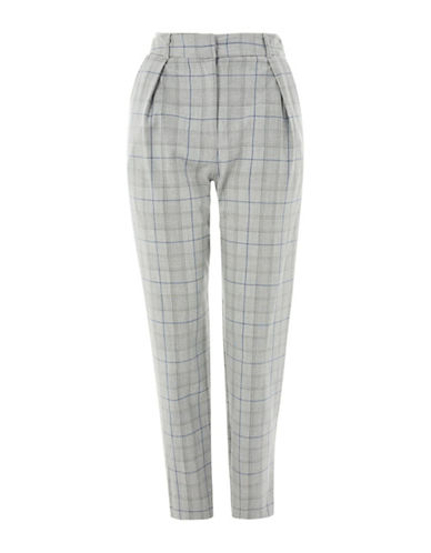Topshop Check Peg Leg Trousers-GREY-UK 12/US 8