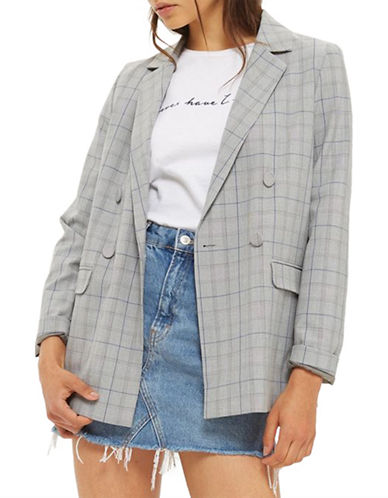 Topshop Double-Breasted Check Blazer-GREY-UK 14/US 10