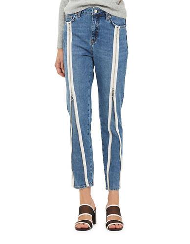 Topshop MOTO Zip Straight-Leg Jeans 30-Inch Leg-BLUE-28X30
