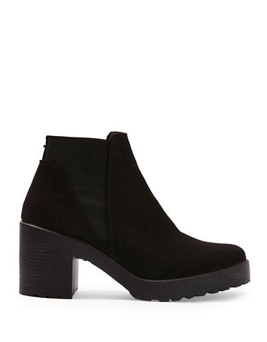Topshop Billie Faux Suede Ankle Boots-BLACK-EU 39/US 8.5