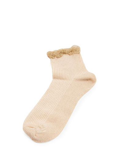 Topshop Glitter Trim Socks-GOLD-1