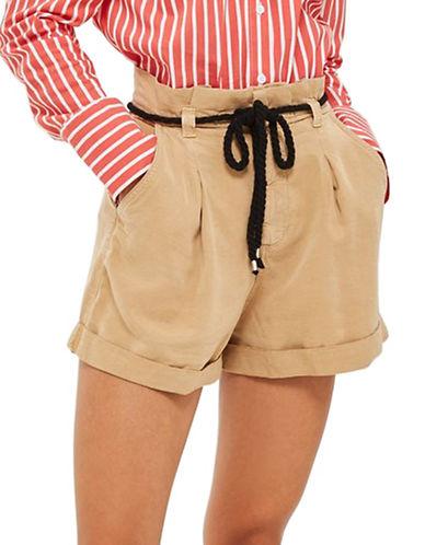 Topshop Rope Casual Shorts-STONE-UK 10/US 6
