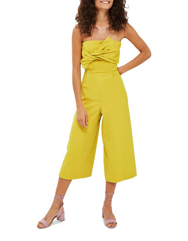 Topshop Tie Bandeau Jumpsuit-LIME-UK 14/US 10