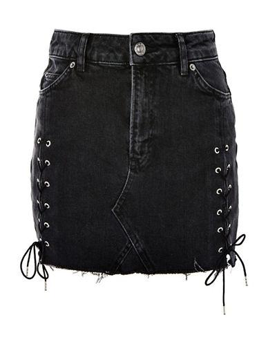 Topshop MOTO Lace Up Denim Mini Skirt-WASHED BLACK-UK 12/US 8
