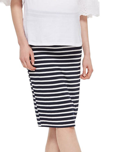 Topshop MATERNITY Striped Tube Skirt-NAVY BLUE-UK 10/US 6