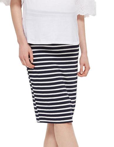 Topshop MATERNITY Striped Tube Skirt-NAVY BLUE-UK 8/US 4