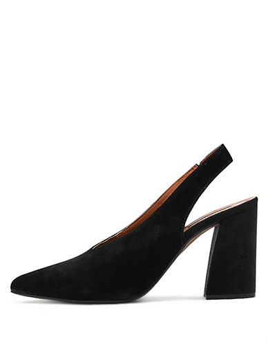 Topshop Georgia Leather Slingback Heels-BLACK-EU 35/US 4.5