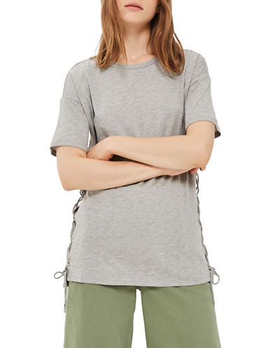 Topshop Side Lace Up T-Shirt-GREY MARL-UK 8/US 4