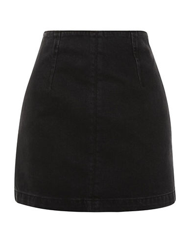 Topshop MOTO Denim A-Line Skirt-WASHED BLACK-UK 6/US 2