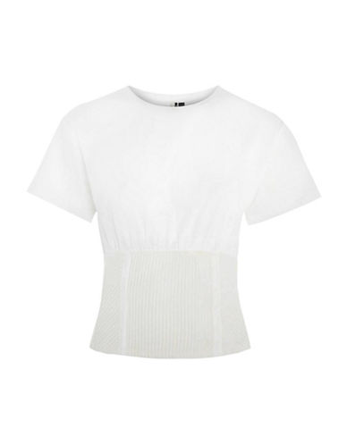 Topshop Structured Corset T-Shirt-WHITE-UK 14/US 10