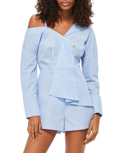 Topshop Stripe Poplin Playsuit-BLUE-UK 12/US 8