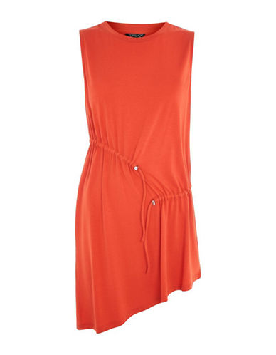 Topshop Sleeveless Ruched Tunic-RED-UK 8/US 4