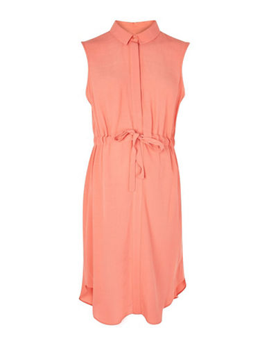 Topshop MATERNITY Drawstring Dress-CORAL-UK 8/US 4