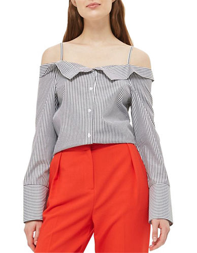Topshop Tie Side Stripe Bardot Top-GREY-UK 14/US 10