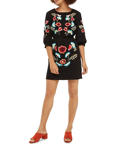 Topshop Embroidered Blouson Dress-BLACK-UK 8/US 4