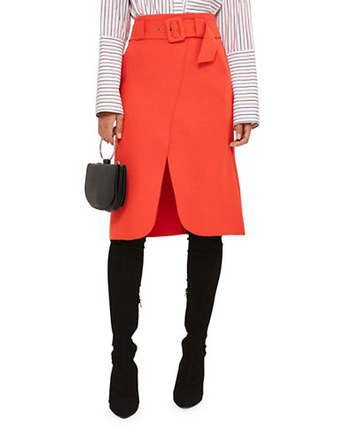 Topshop Belted Curve Wrap Midi Skirt-RED-UK 8/US 4