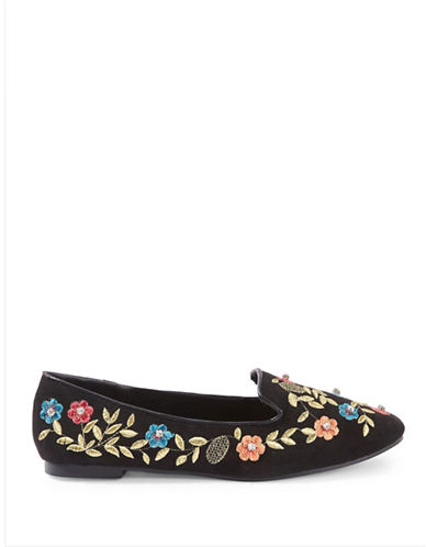 Topshop Sweetie Embroidered Flats-BLACK-EU 38/US 7.5