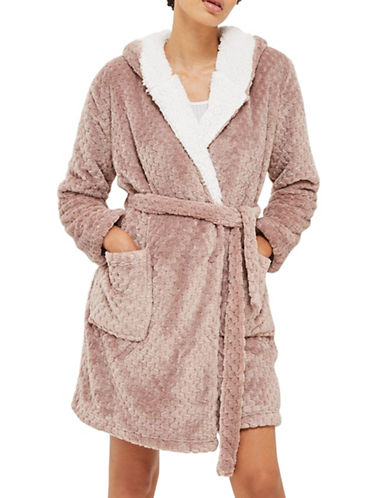 Topshop Patterned Dressing Gown-MINK-Medium