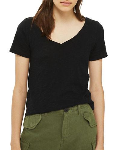 Topshop Slub V-Neck T-Shirt-BLACK-UK 12/US 8