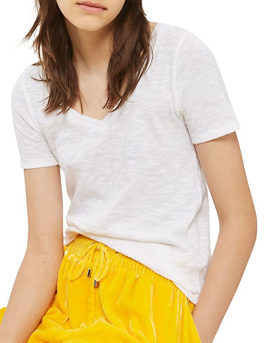 Topshop Slub V-Neck T-Shirt-WHITE-UK 8/US 4