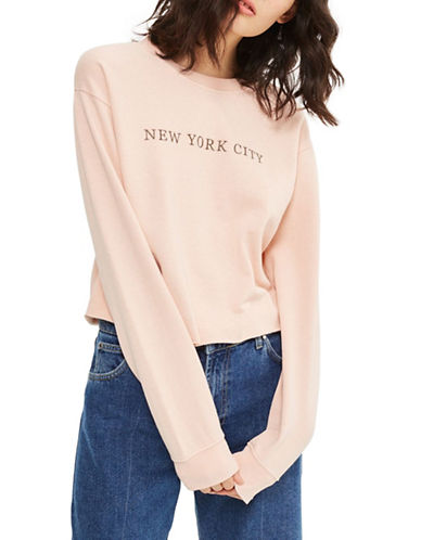 Topshop NYC Embroidered Washed Sweatshirt-PINK-UK 16/US 12