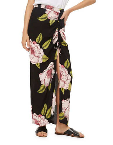 Topshop Floral-Printed Skirt-BLACK-UK 10/US 6