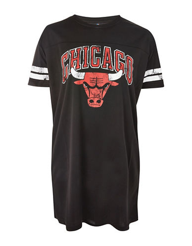 Topshop Chicago Bulls T-Shirt Dress by UNK-BLACK-Small