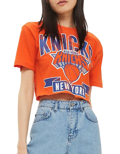 Topshop New York Knicks Crop Tee by UNK-ORANGE-Medium