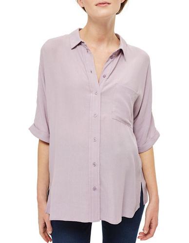 Topshop MATERNITY Cropped Shirt-LILAC-UK 14/US 10