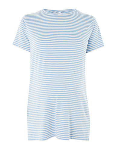 Topshop MATERNITY Fine Stripe T-Shirt-BLUE-UK 14/US 10