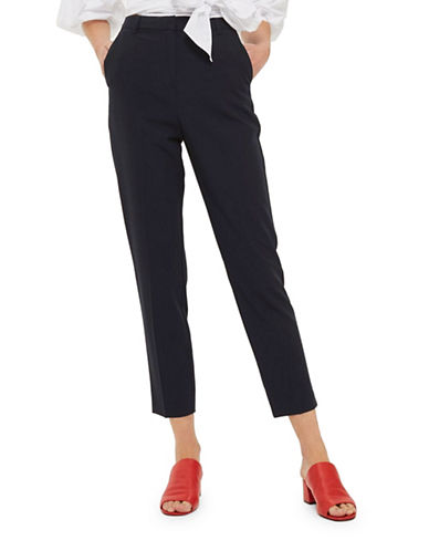 Topshop High-Waisted Cigarette Trousers-NAVY BLUE-2