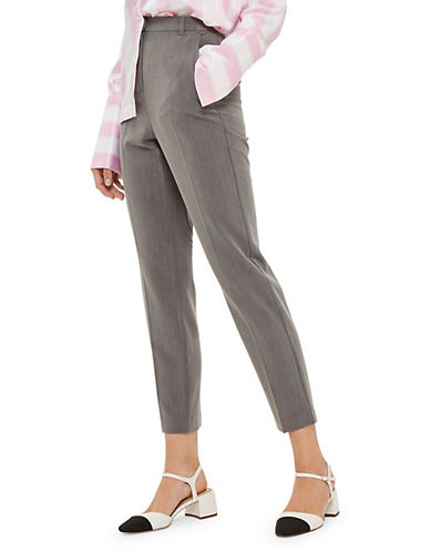Topshop High-Waisted Cigarette Trousers-GREY-10