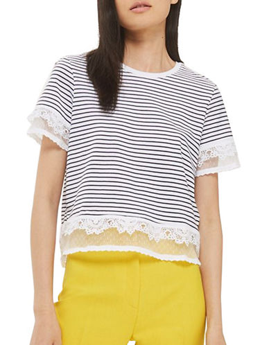 Topshop Stripe Dobby Trim Tee-MONOCHROME-UK 8/US 4