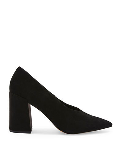 Topshop Gretal V-Cut Leather Block Heels-BLACK-EU 36/US 5.5