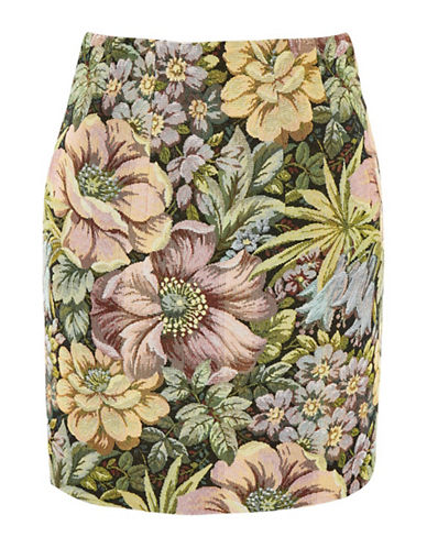 Topshop Tapestry High-Waisted Mini Skirt-MULTI-UK 10/US 6