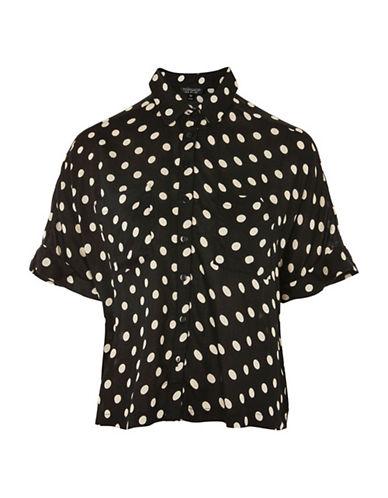 Topshop Joey Polka Dot Shirt-BLACK-UK 10/US 6