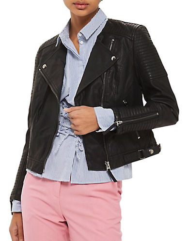 Topshop PETITE Luna Biker Jacket-BLACK-UK 8/US 4