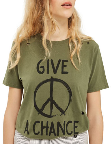 Topshop Give Peace A Chance T-Shirt by And Finally-KHAKI-Small
