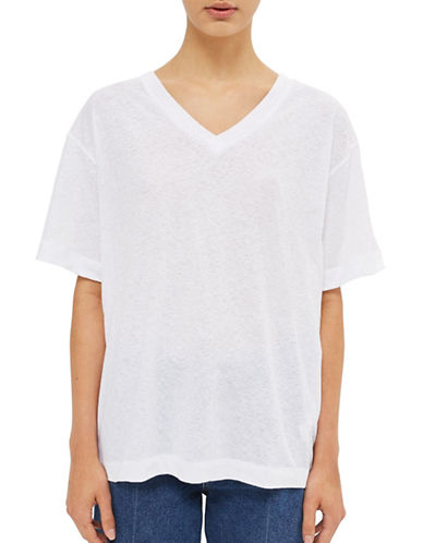 Topshop Cotton-Linen T-Shirt-WHITE-UK 10/US 6
