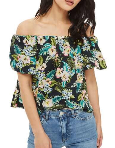 Topshop PETITE Hawaiian Print Bardot Top-DARK GREEN-UK 6/US 2