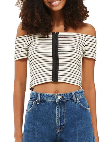 Topshop PETITE Hook-and-Eye Crop Top-MONOCHROME-UK 12/US 8